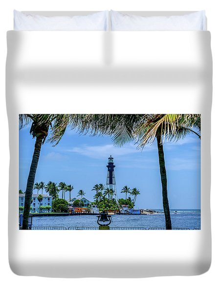 Duvet Cover featuring the photograph Hillsboro Inlet Lighthouse by Louis Ferreira