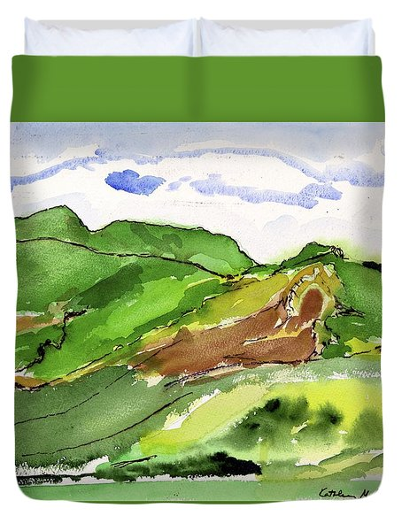 Hillside And Clouds Duvet Cover
