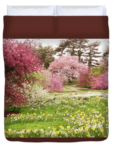 Duvet Cover featuring the photograph Hillside Bloom by Jessica Jenney