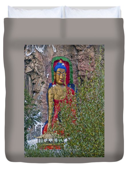 Duvet Cover featuring the photograph Hillside Buddha by Alan Toepfer