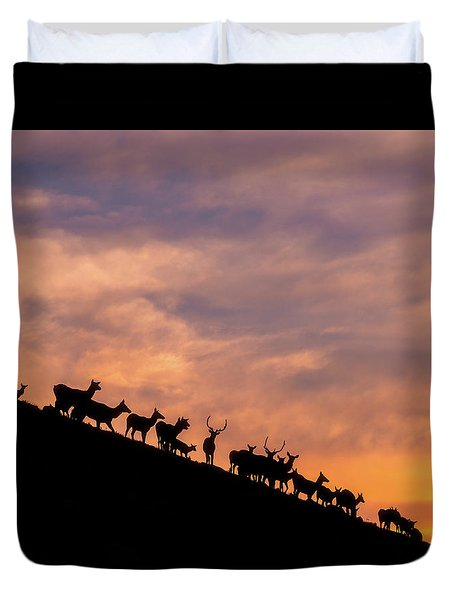 Duvet Cover featuring the photograph Hillside Elk by Darren White