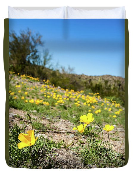 Hillside Flowers Duvet Cover by Ed Cilley