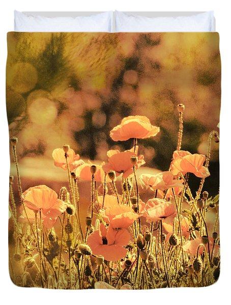 Hillside Poppies And Sunset Duvet Cover