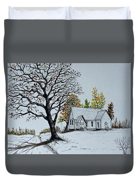 Duvet Cover featuring the painting Hilltop Church by Jack G  Brauer