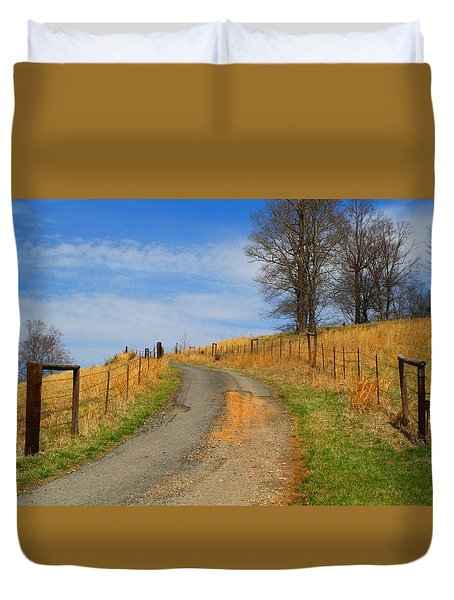 Hilltop Driveway Duvet Cover by Kathryn Meyer