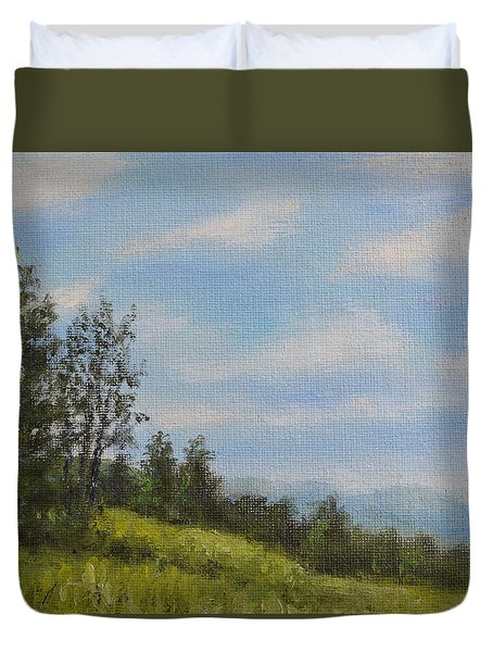 Duvet Cover featuring the painting Hilltop Meadow by Kathleen McDermott
