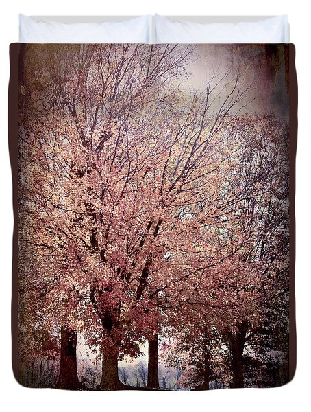 Duvet Cover featuring the digital art Hilltop Trees by Bonnie Willis