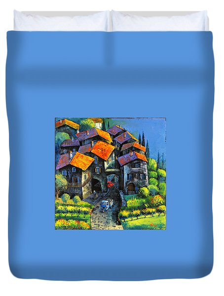 Duvet Cover featuring the painting Hilltop Willage by Mikhail Zarovny