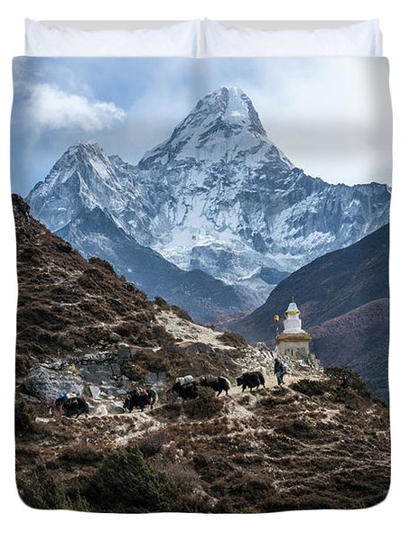 Duvet Cover featuring the photograph Himalayan Yak Train by Mike Reid