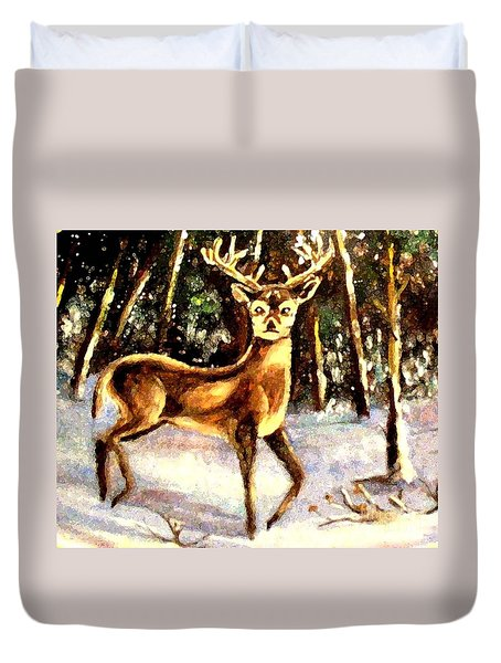 Duvet Cover featuring the painting Hinds Feet by Hazel Holland