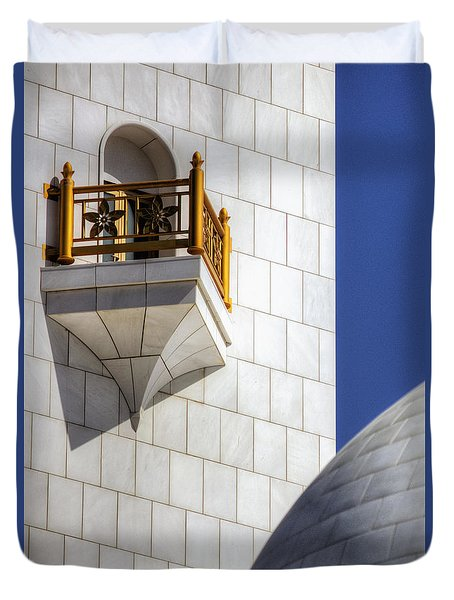 Duvet Cover featuring the photograph Hindu Temple Tower by John Swartz