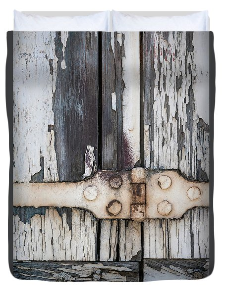 Duvet Cover featuring the photograph Hinge On Old Shutters by Elena Elisseeva