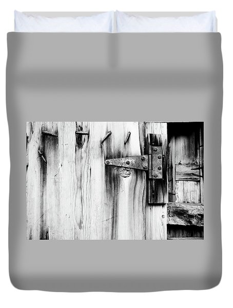 Hinged In Black And White Duvet Cover