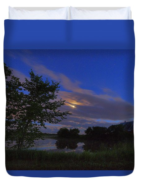 Hinkley Pond Moonset Duvet Cover