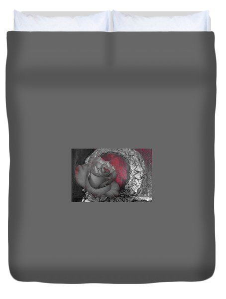Hints Of Red - Rose Duvet Cover