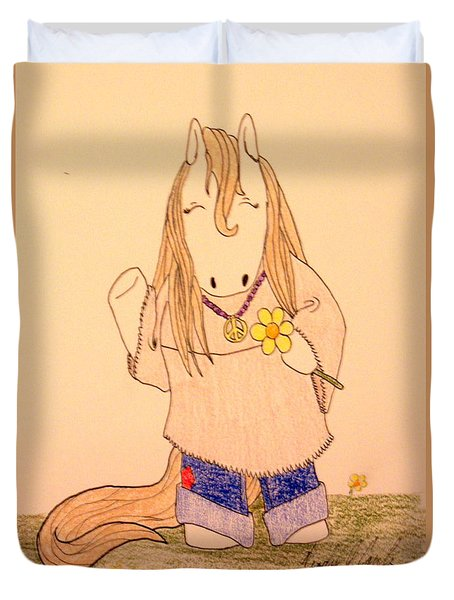Hip Pop Ponies- Flower Power Duvet Cover by Wendy Coulson