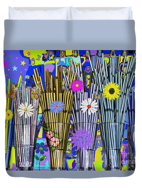 Duvet Cover featuring the digital art Hippie Hippie Straws by Eleni Mac Synodinos