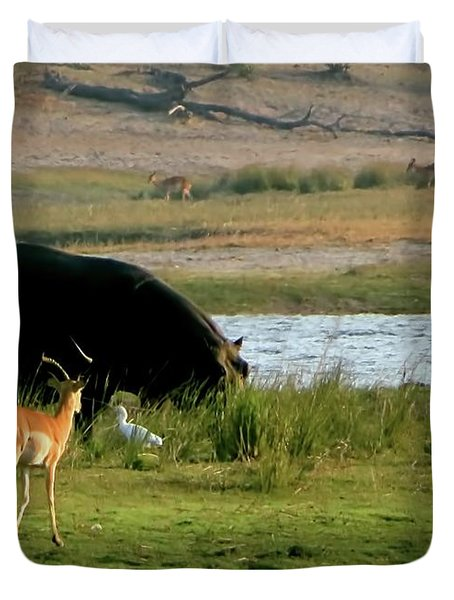 Hippo And Impala Duvet Cover