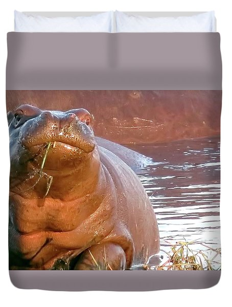 Hippo Snacks Duvet Cover