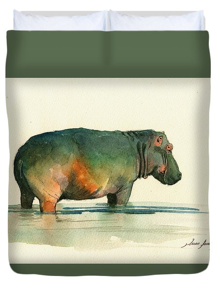 Hippo Watercolor Painting Duvet Cover