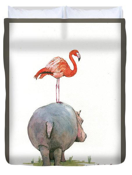 Hippo With Flamingo Duvet Cover