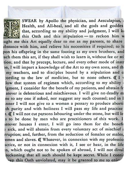 Hippocratic Oath, 1938 Duvet Cover