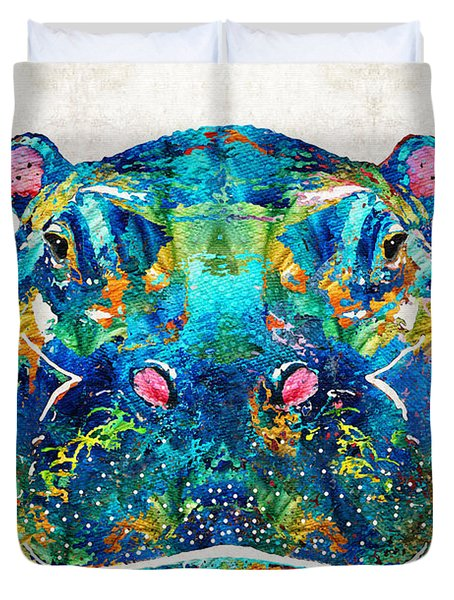 Hippopotamus Art - Happy Hippo - By Sharon Cummings Duvet Cover by Sharon Cummings