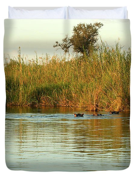 Hippos, South Africa Duvet Cover