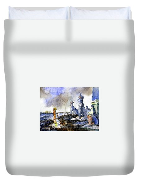 His And Hers Temples Duvet Cover