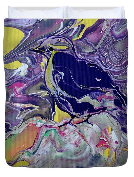 Duvet Cover featuring the painting His Eye Is On The Sparrow by Deborah Nell