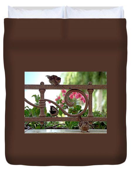 His Eye Is On The Sparrow Duvet Cover by Marie Hicks