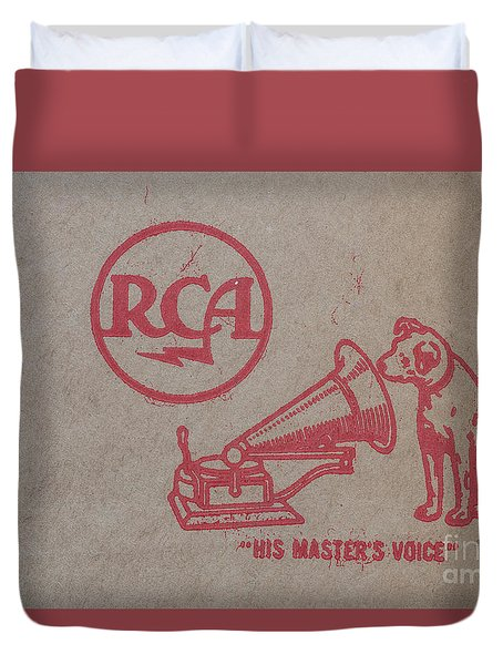 Duvet Cover featuring the photograph His Masters Voice Rca by Edward Fielding