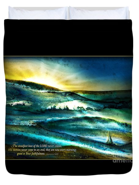 His Mercies Are New Every Morning -verse Duvet Cover
