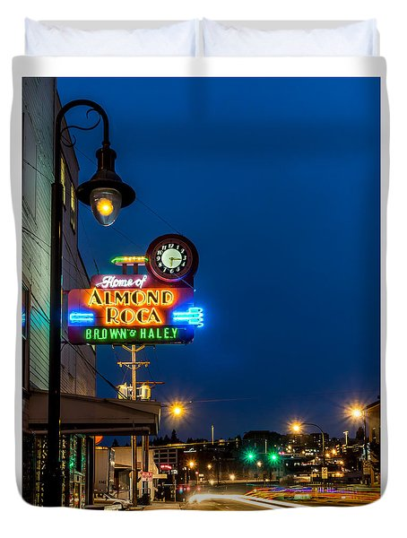 Historic Almond Roca Co. During Blue Hour Duvet Cover