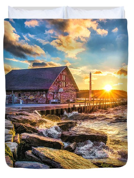 Historic Anderson Dock In Ephraim Door County Duvet Cover by Christopher Arndt