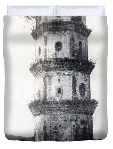 Historic Asian Tower Building Duvet Cover