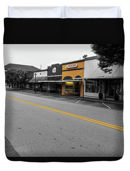 Duvet Cover featuring the photograph Historic Buford In Selective Color by Doug Camara