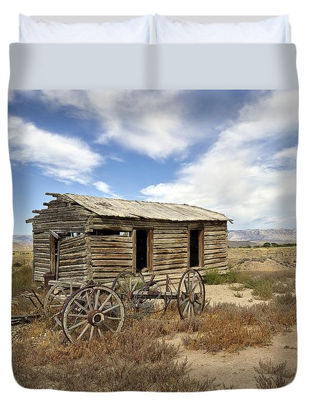 Historic Cabin And Buckboard Wheels In Big Horn County In Wyoming Duvet Cover by Carol M Highsmith