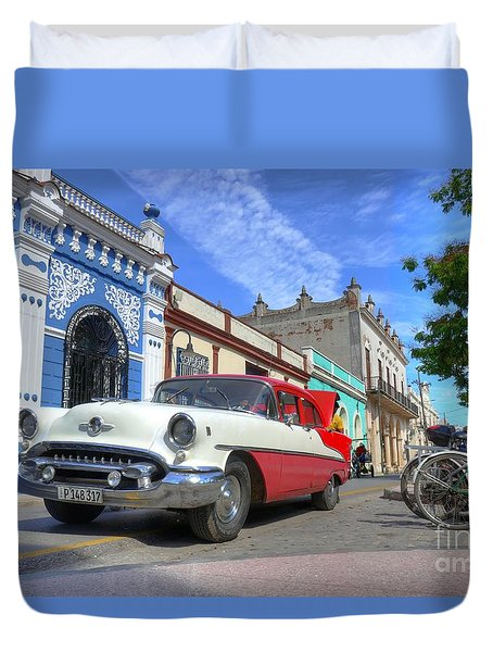 Historic Camaguey Cuba Prints The Cars Duvet Cover