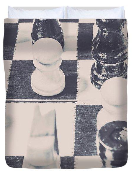 Historic Chess Nostalgia Duvet Cover