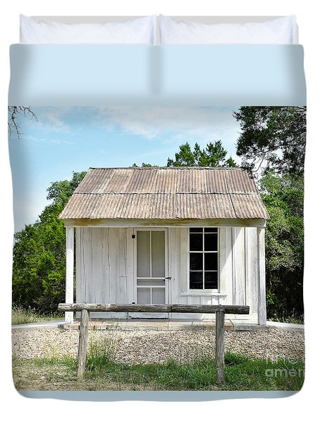 Duvet Cover featuring the photograph Historic Clint's Cabin by Ray Shrewsberry