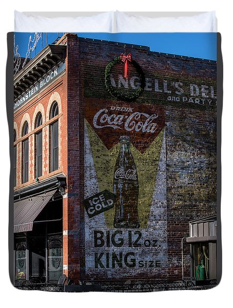 Duvet Cover featuring the photograph Historic Coca Cola Brick Ad - Fort Collins - Colorado by Gary Whitton