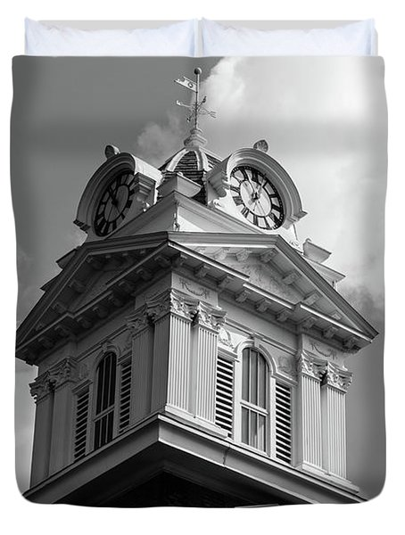 Historic Courthouse Steeple In Bw Duvet Cover