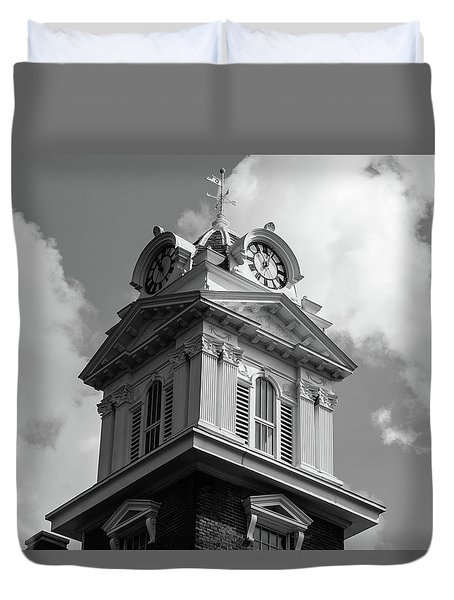 Duvet Cover featuring the photograph Historic Courthouse Steeple In Bw by Doug Camara
