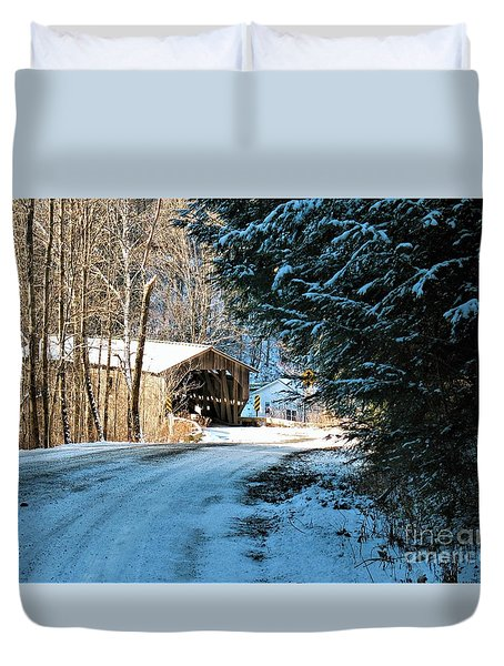 Historic Grist Mill Covered Bridge Duvet Cover