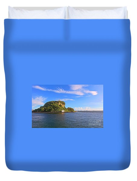 Duvet Cover featuring the photograph Historic Lighthouse On Chijin Island by Yali Shi