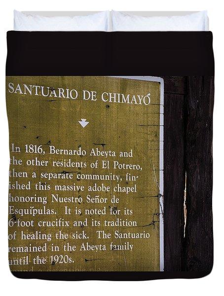 Historic Marker For The Santuario Duvet Cover