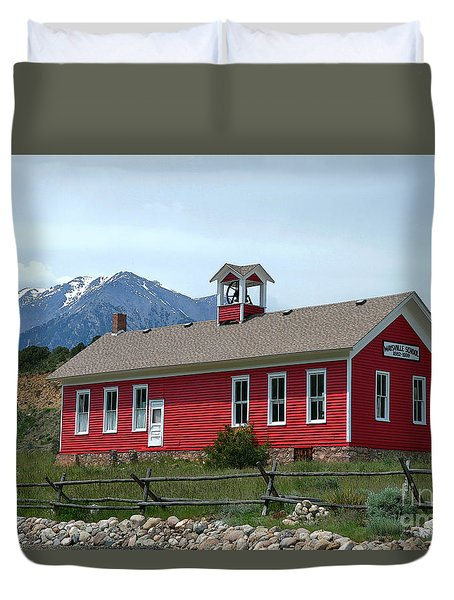 Historic Maysville School In Colorado Duvet Cover by Catherine Sherman