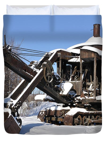 Historic Mining Steam Shovel During Alaska Winter Duvet Cover