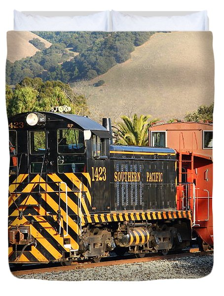 Historic Niles Trains In California . Old Southern Pacific Locomotive And Sante Fe Caboose . 7d10821 Duvet Cover by Wingsdomain Art and Photography